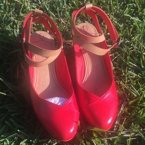 Calvin Klein Jeans red wedges- Sz 8
